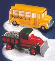 Dept 56 Original Snow Village School Bus & Snow Plow