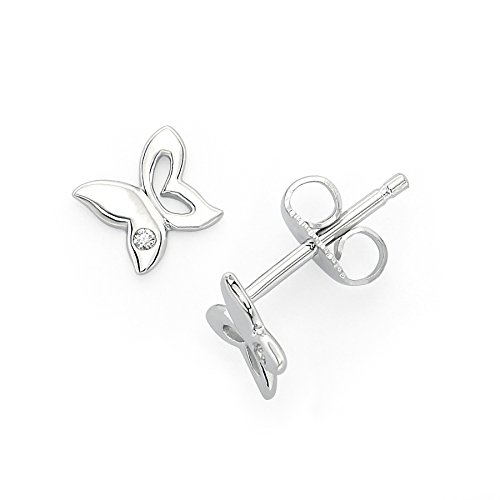 (Little Diva Diamonds 925 Sterling Silver Diamond Accent Butterfly Stud Earrings for Girls)