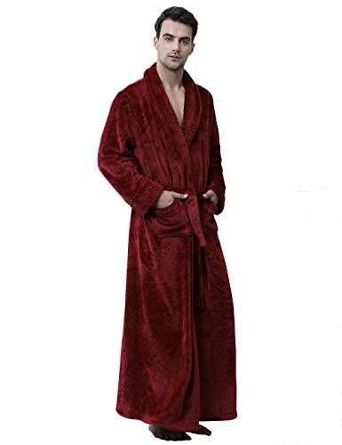 Men's Soft Warm Fleece Bath Robe Long Plush Robe with Pockets Couple Pajamas, Red-L