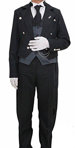 [Halloween Men's Sebastian Cosplay Costume Tailcoat Tuxedo Outfit S] (Womens Tailcoat Costume)