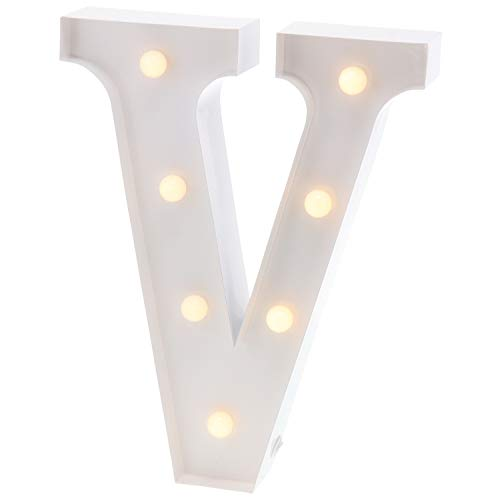 Barnyard Designs Metal Marquee Letter V Light Up Wall Initial Wedding, Bar, Home and Nursery Letter Decoration 12