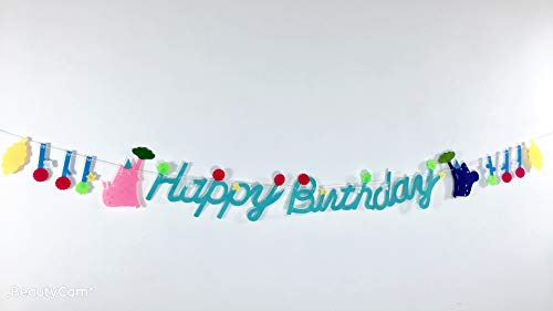 E&L Hawaii Themed Rainforest Happy Birthday Banner, for Birthday Party Decoration, Baby Shower Party -