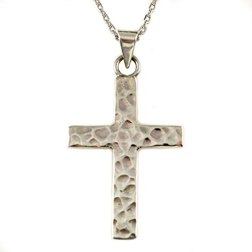 Sterling Silver Hammered Cross Pendant Necklace 16+2 inches Chain