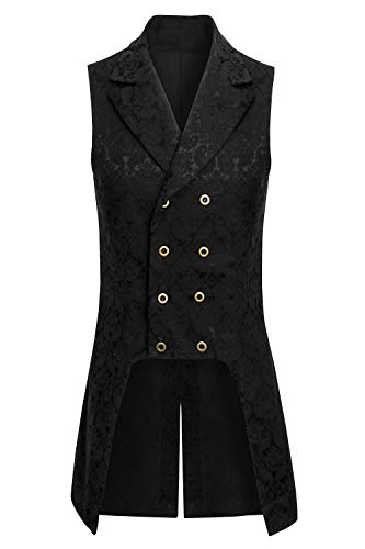 Mens Steampunk Renaissance Medieval Brocade Vest Pirate Costume Victorian Viking Formal Gothic Victorian Tuxedo Waistcoat