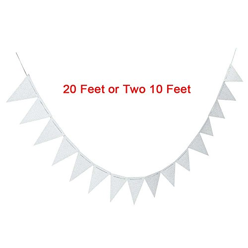 GAKA 20 Feet Vintage Double Sided Glitter Silver Triangle Flag Bunting Pennant Banner for Wedding Christmas New Year Eve Party Decor, Upgrade Glitter Version, Silver 30pcs Flags, Pack of (New Years Eve Banners)