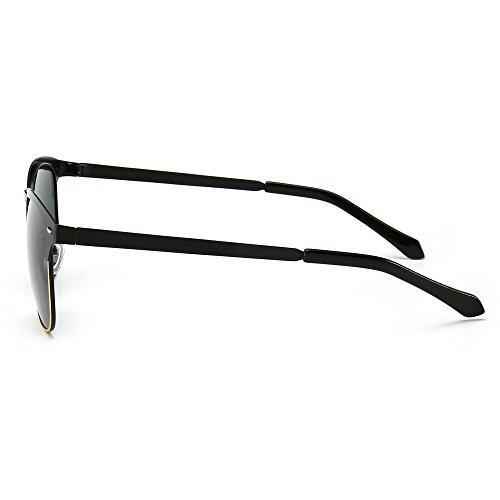 85a31563b4fd ... SUNGAIT Classic Half Frame Clubmaster Sunglasses with Polarized Lens  Ultra-thin Black Frame Green Lens ...