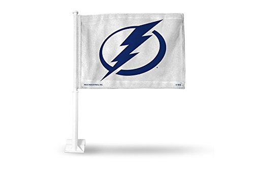 Rico NHL Tampa Bay Lightning Car Flag, White, with White Pole by Rico