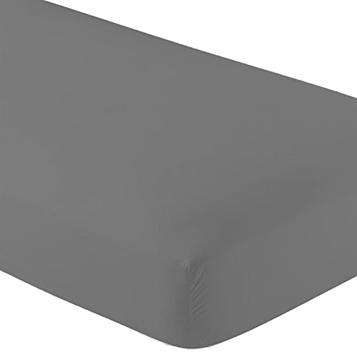 Crescent Bedding Queen Fitted Sheet Only - Soft & Comfy 100% Cotton (Queen, Grey)