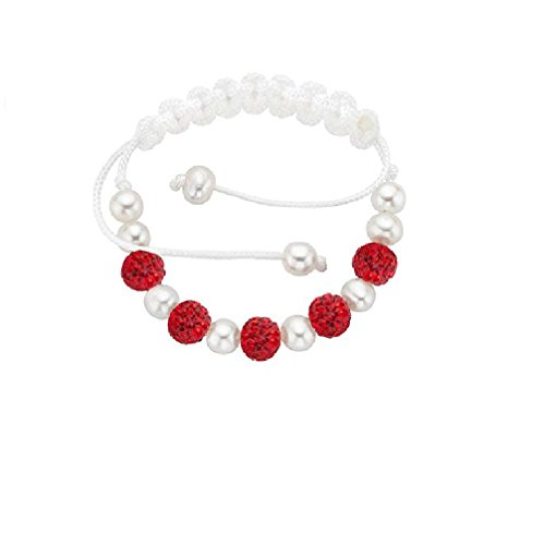 Crystal and Freshwater Cultured Pearls Macrame Bracelet (Red)