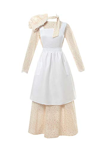 ROLECOS Pioneer Costume Dress Womens American Historical Clothing Modest Prairie Colonial Dress Yellow M -