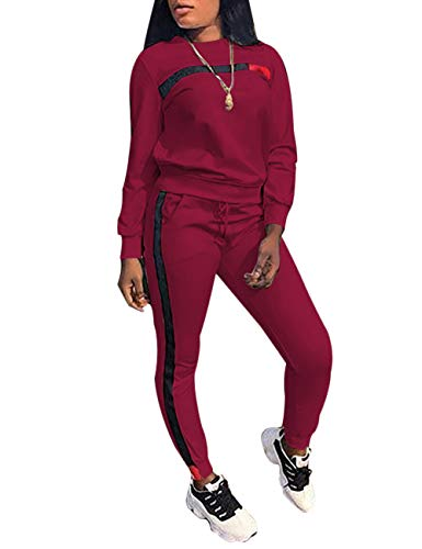 KANSOON Women Stripe Patchwork Two Piece Sweatsuit Round Neck Pullover and Skinny Long Pants Wine Red - Wine 2 Piece Set