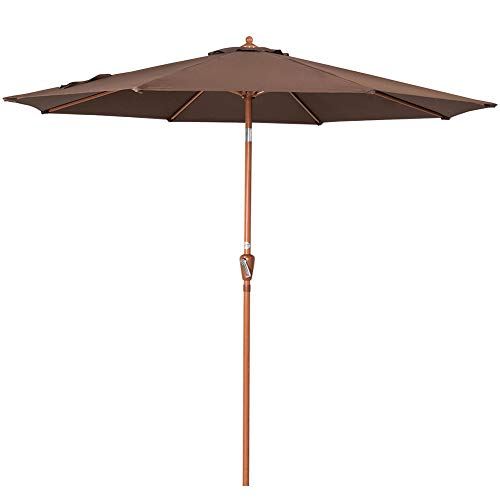 Sundale Outdoor 9 Feet Aluminum Patio Umbrella Market Table Umbrella in Woodgrain Finish with Crank and Push-Button Tilt for Garden, Deck, Backyard, Pool, 8 Steel Ribs, Polyester Canopy (Coffee)