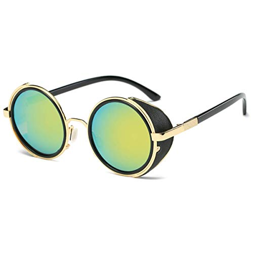 Dollger Steampunk Vintage Retro Round Sunglasses Metal Circle Frame (Green Lens+Gold Frame,100% UV Protection Lens) ()