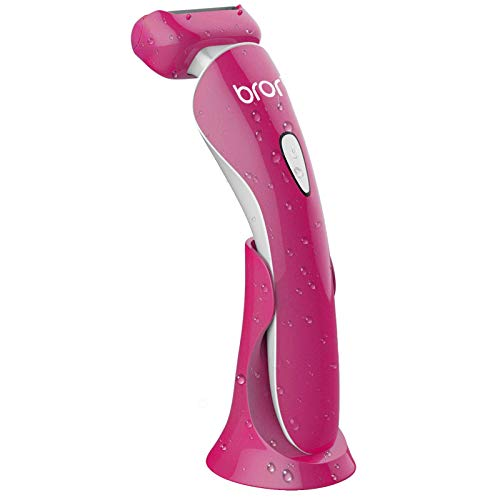 Brori Electric Razor for Women - Womens Shaver Bikini Trimmer Body Hair Removal for Legs and Underarms Rechargeable Wet and Dry Painless Cordless with LED Light, Rose Red