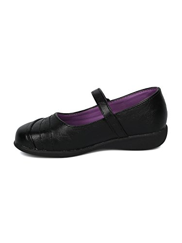 Girls Leatherette Mini Star Applique Mary Jane Uniform Shoe HD37 - Black Leatherette (Size: Big Kid 3) by Alrisco (Image #3)