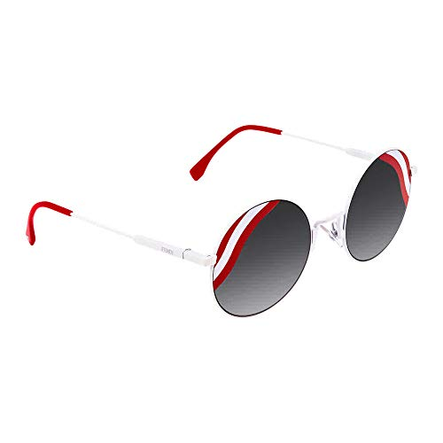 (Fendi Women's Round Waves Sunglasses, White Red/Dark Grey, One Size)