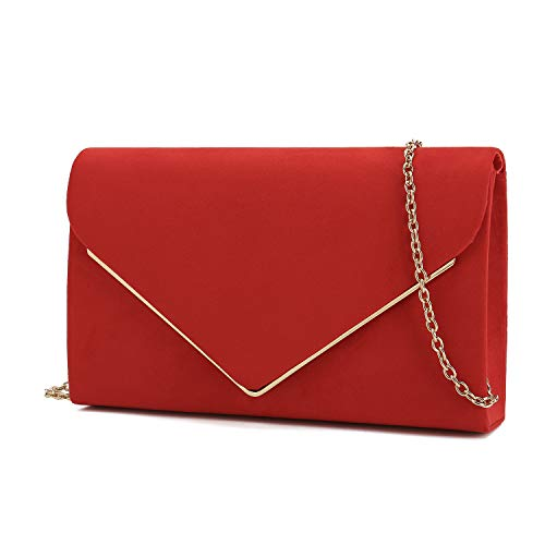 (Charming Tailor Faux Suede Clutch Bag Elegant Metal Binding Evening Bag for Wedding/Prom/Black-tie Events (Red))