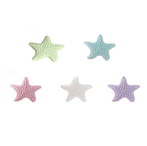 Alfto Starfish Shape Silicone Wall Protectors Self Adhesive Door Handle Bumper Guard Stopper Rubber Stop Home Stickers for Wall Decoration 5pcs(4.5x0.8cm)