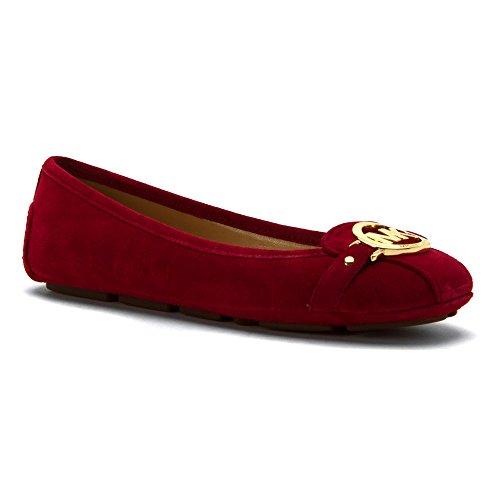 MICHAEL Michael Kors Women's Cherry Fulton Moc Suede Flats 9.5 - Ballet Cherry Shoes