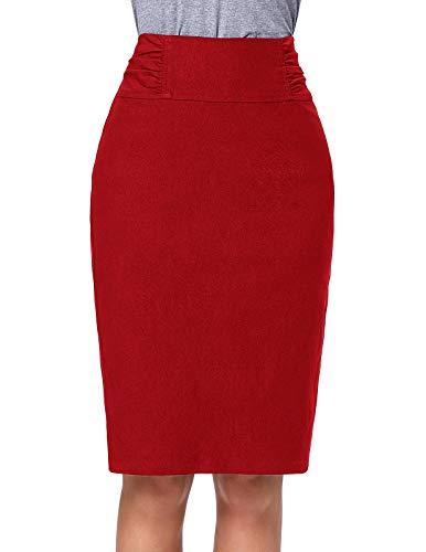 Kate Kasin Women's Knee Length Pencil Skirts Slim Fit Business Skirt (KK268-Red, Small)