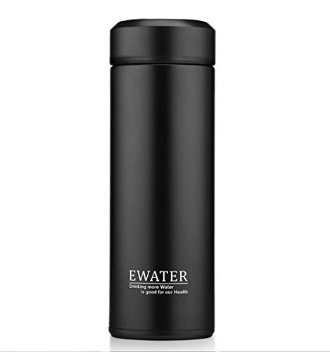 Glass Liner Vacuum Flask Stainless Steel Water Bottle Insulated Travel Coffee Thermos Mug,12oz,11oz,9oz Available (11oz, Black) ()