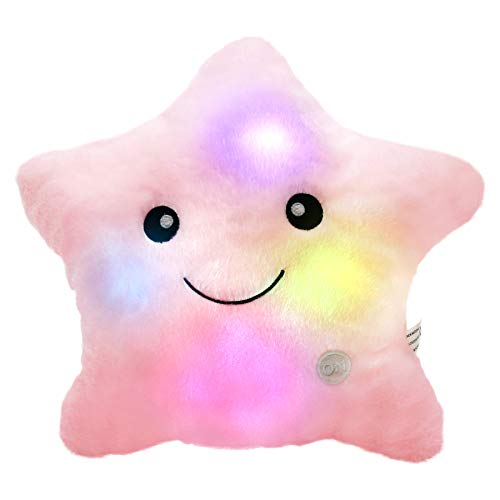 Bstaofy WEWILL Creative Twinkle Star Glowing LED Night Light Plush Pillows Stuffed Toys (Pink)