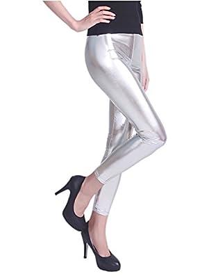 HDE Women's Plus Size Clubwear Shiny Metallic Leggings Liquid Wet Look Pants