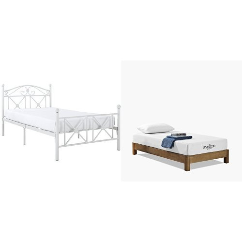 Modway Cottage Twin Bed in White with Modway Aveline 8