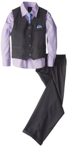 Herringbone Stripe Dress Shirt (Nautica Little Boys' Herringbone Deco Stripe Vest Set, Grey,)