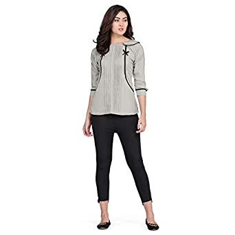 J B Fashion Plain Top with 3/4th Sleeves for Office Wear, Casual Wear, Under 399 Top for Women/Girls Top