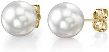 14K Gold White South Sea Cultured Pearl Stud Earrings - AAAA Quality