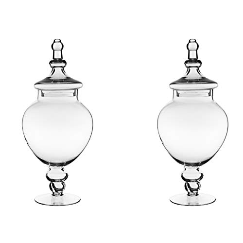 CYS EXCEL Apothecary Jars Pack of 2, Candy Buffet Display, Elegant Storage Jars, Wedding Candy Canisters -Series (1)]()