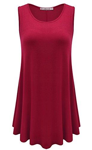 (JollieLovin Womens Sleeveless Comfy Plus Size Tunic Tank Top with Flare Hem - Wine Red, XL (1X))
