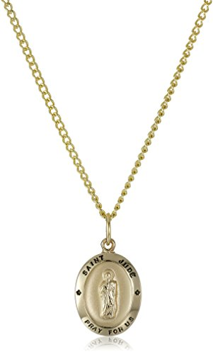 (14k Gold-Filled Oval Saint Jude Pendant Necklace with Stainless Steel Chain, 18