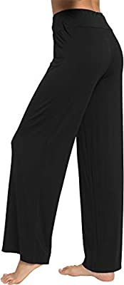 WiWi Women's Bamboo Wide Leg Sleep Lounge Pants Lightweight Pajama Bottoms Pants S-XL
