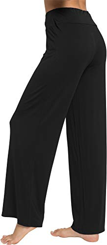 WiWi Women's Bamboo Wide Leg Sleep Lounge Pants Lightweight Pajama Bottoms Pants S-XXXXL(4XL), Black, Small
