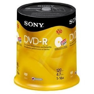 (Sony 16x 4.7GB Inkjet Printable Blank DVD-R (100-Pack Spindle))