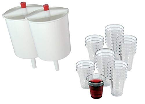 (VALUE PACK - 600 Church Communion Cups with Two Wine Cup Fillers - Church Supplies - Fits Service Tray - 12 Oz Wine Dispensers - Convenient Time Saver)