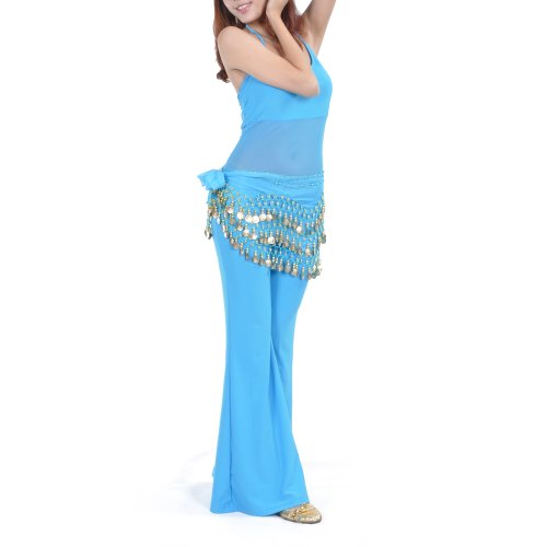 TOPTIE Wholesale Belly Dance Hip Scarf W/Gold Coins, Festival Dance Skirt-50PCS-Lake Blue -