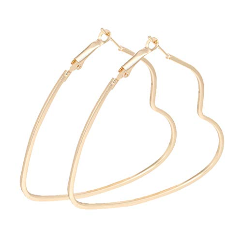 UEUC Silver Gold Plated Twisted Heart-Shaped Hoop Earrings Set for Women Sensitive Ears with Jewelry ()