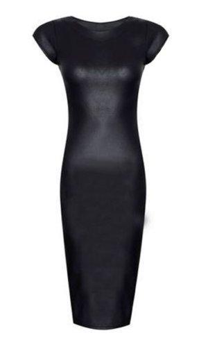 (womens cap sleeved black wet look midi dress (aqa) Frauen Kappe Ärmeln schwarz Nasseffekt kleiden (40/42 (uk 12/14), (black) schwarz)
