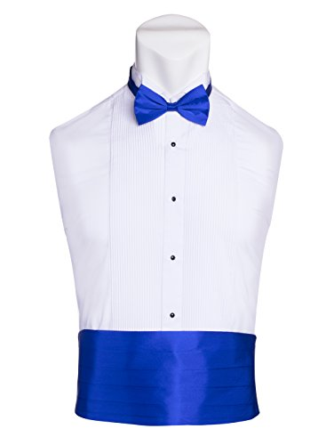 Blue Silk Cummerbunds - Men's Premium Cummerbund & Bow Tie Set 100% Silk Cummerbund & Bowtie for Tuxedos & Suits - Many Colors (Royal Blue)