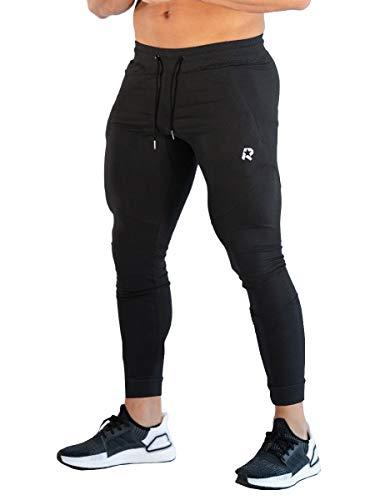 ROWILUX Mens Sport Jogger Pants Zipper Pockets Casual Gym Workout Sweatpants (Black,XL) ()