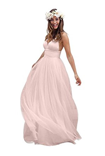 Vickyben Damen 2017 Spaghetti Rueschen Empire Taille Rueckenfrei Strand KLeid Brautkleid Abendkleider Ballkleid Brautjungfernkleid Party kleid lang Pink FPIkQLsE