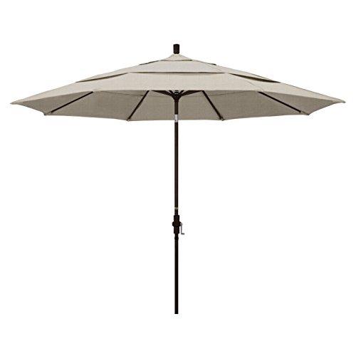 California Umbrella 11' Round Aluminum Market Umbrella, Crank Lift, Collar Tilt 11' Auto Tilt Umbrella