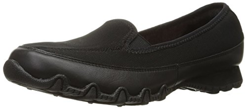 Skechers Women's Bikers Split Decision Flat, Black Leather/Mesh, 7 M US 49178