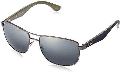 Ray-Ban Steel Man Sunglasses - Gunmetal Frame Grey Mirror Silver Gradient Lenses 57mm Non-Polarized (Frame Steel Ray Ban)
