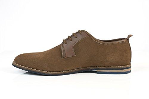 solebay hundon Smart formelle Chaussures à lacets en daim pour homme Marron clair