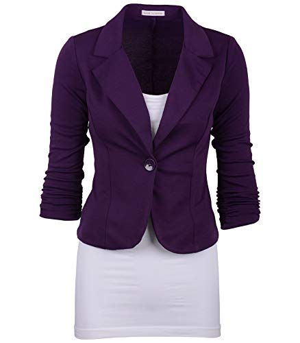 (Auliné Collection Women's Casual Work Solid Color Knit Blazer Purple)