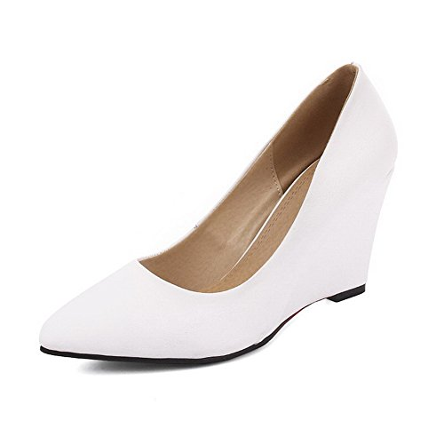 AmoonyFashion Womens High Heels Soft Material Solid Pull On Pointed Closed Toe Pumps-Shoes White e8a5rHphRX